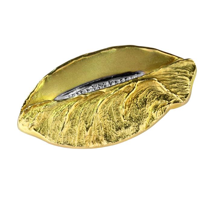 Brosche in Gelb- und Weißgold mit Brillanten