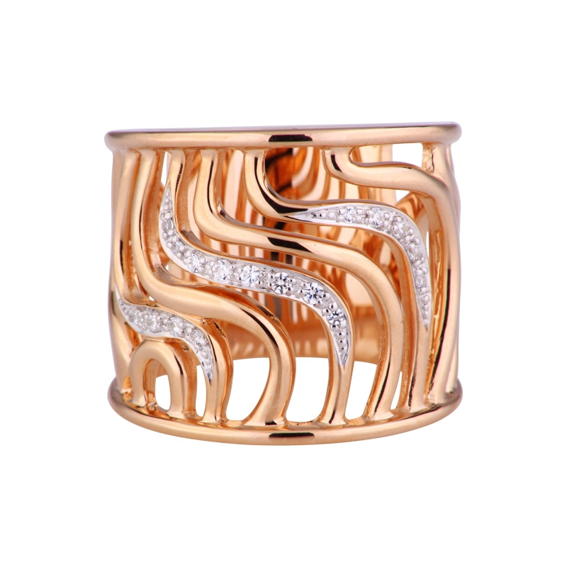 Zirkonia-Ring Silber roségold-plattiert