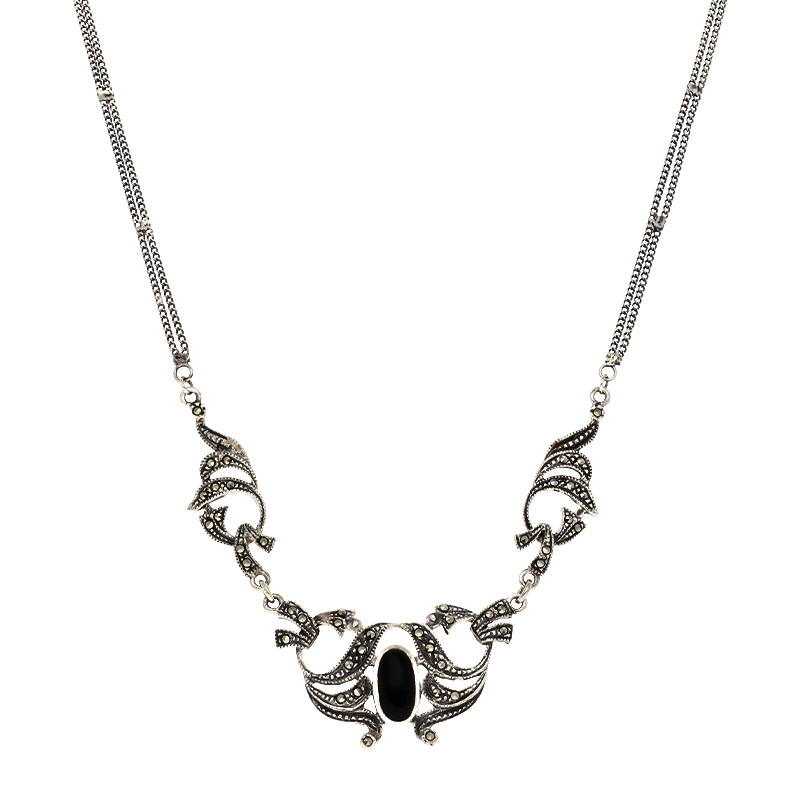Onyx-Collier Silber