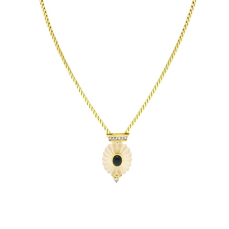 Bergkristall-Collier Gelbgold