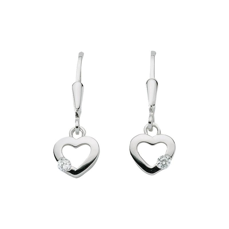 Silberne Ohrhänger 'Herzen' mit Zirkonia