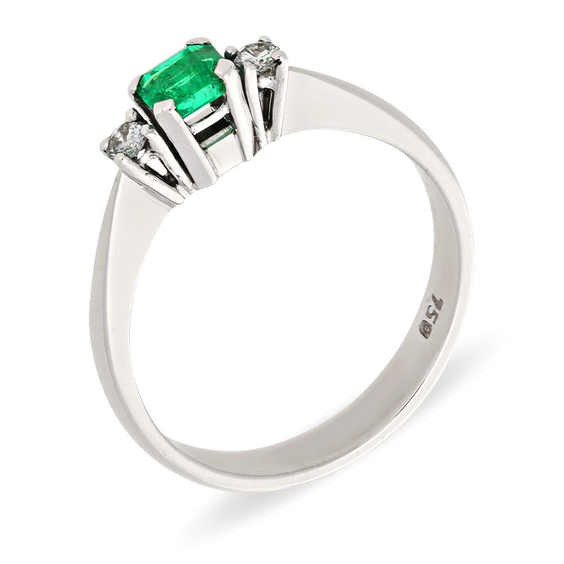 Smaragd-Ring Weißgold
