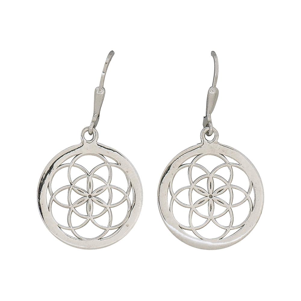 Lebensblume-Ohrhänger Silber