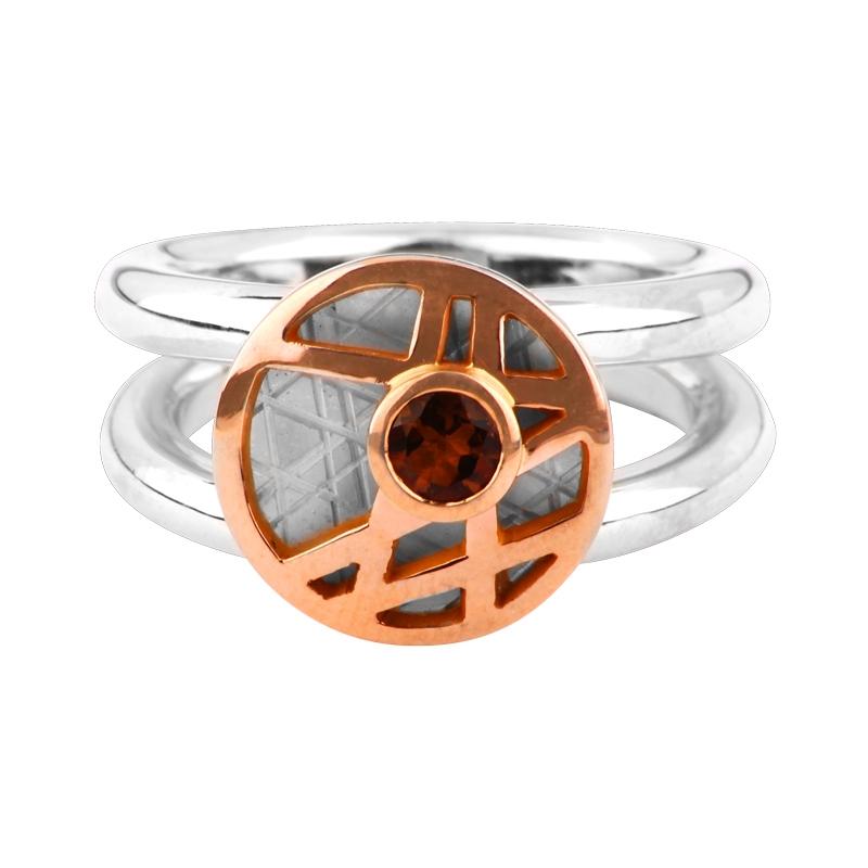 Rauchquarz-Ring Bicolor