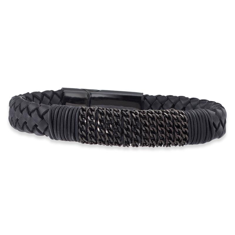 Save Brave, Armband Leder schwarz/Edelstahl