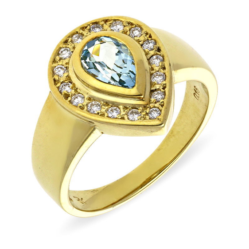 Aquamarin-Ring Gelbgold