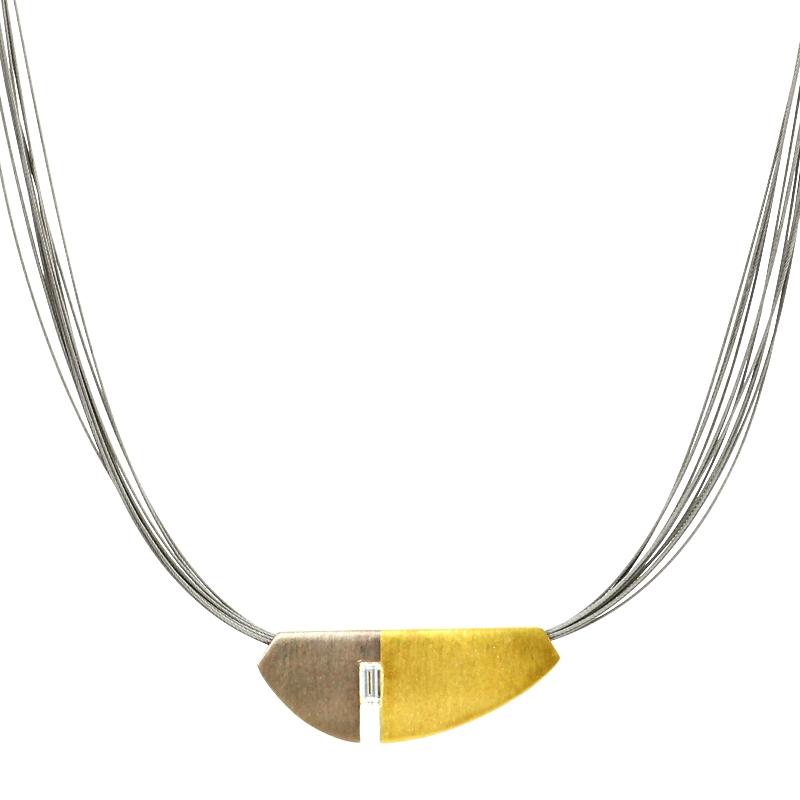 Collier Baguette-Diamant Gelb- und Weißgold