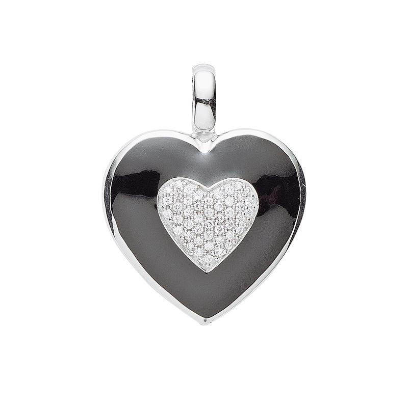 Herz-Anhänger Emaille Silber