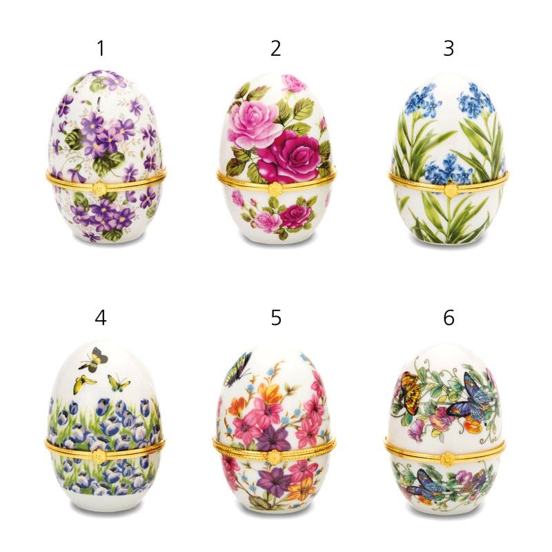 Porzellandosen in Eiform mit verschiedenen Motiven 8cm