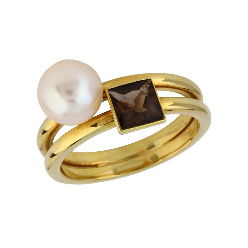 Ring in Gelbgold mit Rauchquarz und Zuchtperle