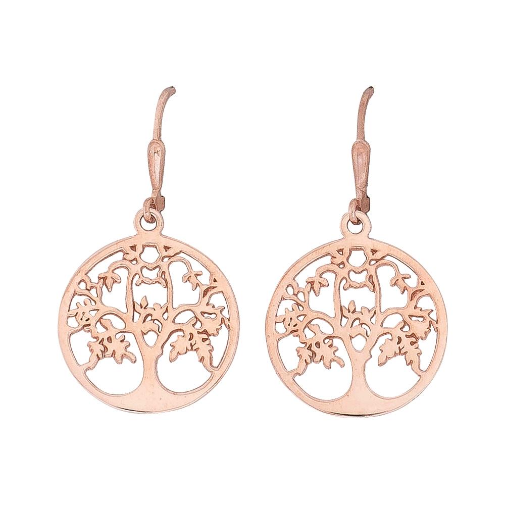 Lebensbaum-Ohrhänger Silber rosé-vergoldet