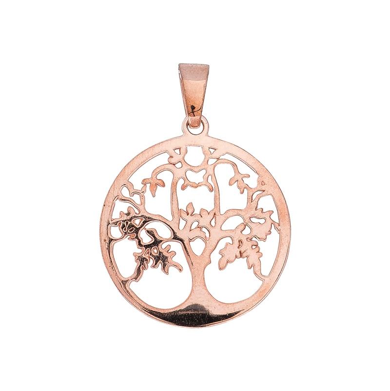 Lebensbaum-Anhänger Silber rosé-vergoldet