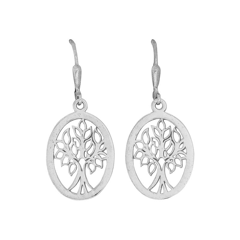 Lebensbaum-Ohrhänger Silber