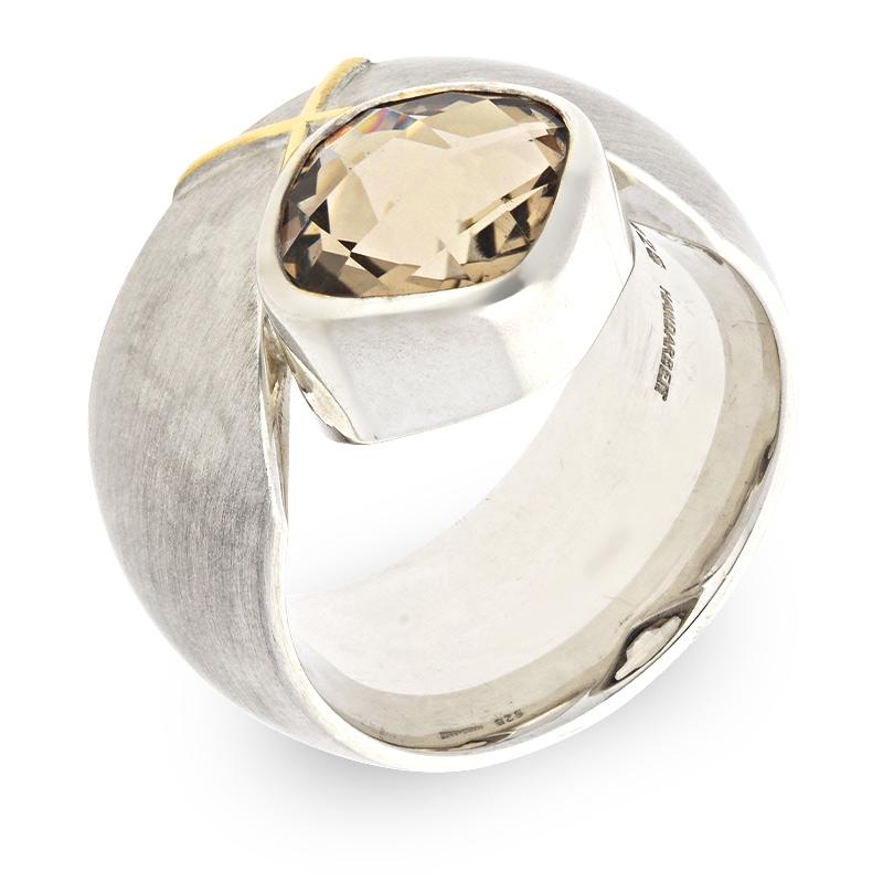 Rauchquarz-Ring Silber