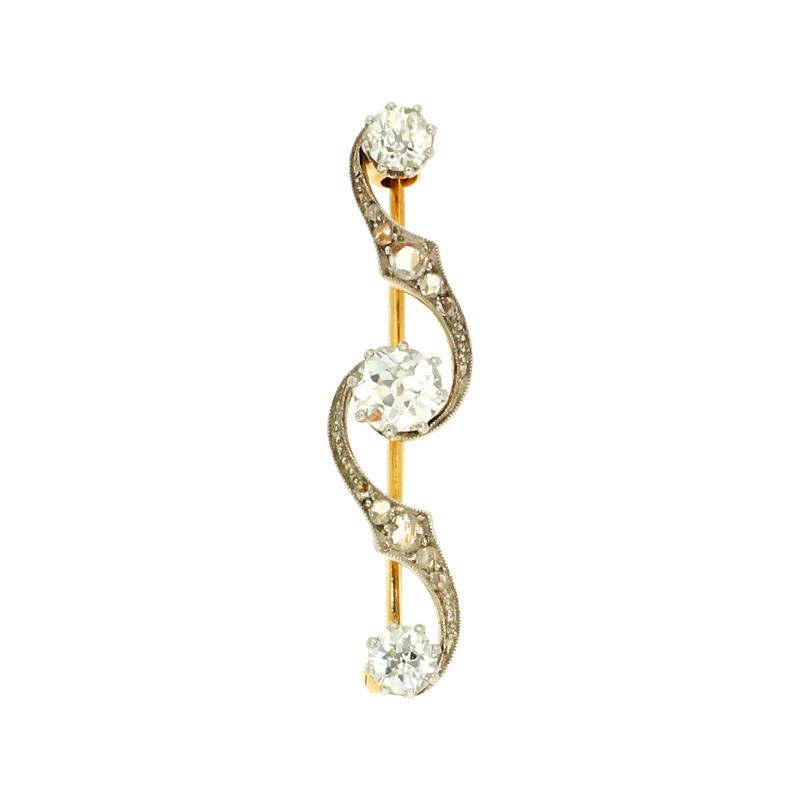 Diamantbrosche Platin/Gelbgold