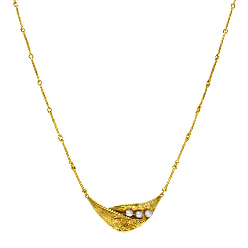 Perl-Halsschmuck Gelbgold